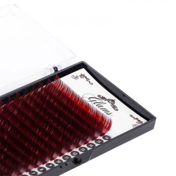 GLAMS Темно-красные ресницы D - 0,2